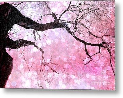 Surreal Fantasy Fairytale Pink And Black Nature Haunting Tree Limbs - Pink Bokeh Circles Metal Print by Kathy Fornal