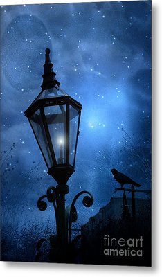 Surreal Fantasy Gothic Blue Night Lantern With Ravens - Starry Night Surreal Lantern Blue Moon Metal Print by Kathy Fornal
