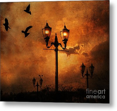 Surreal Fantasy Gothic Night Lanterns Ravens  Metal Print by Kathy Fornal