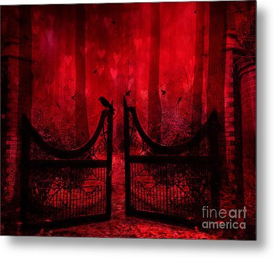 Surreal Fantasy Gothic Red Forest Crow On Gate Metal Print by Kathy Fornal