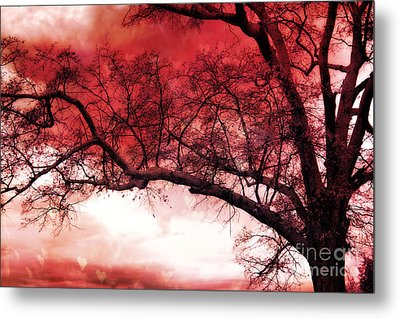 Surreal Fantasy Gothic Red Tree Landscape Metal Print by Kathy Fornal