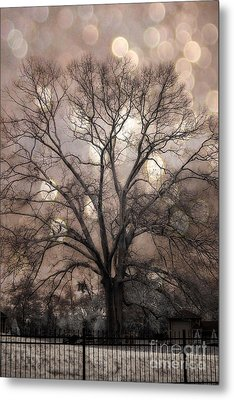 Surreal Fantasy Gothic South Carolina Sepia Oak Trees And Fantasy Bokeh Circles Metal Print by Kathy Fornal