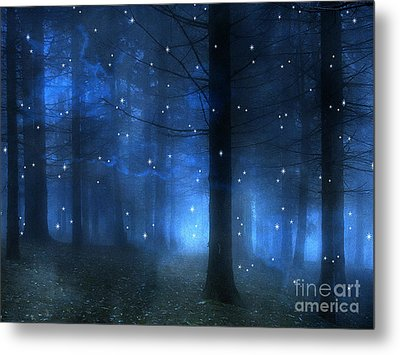 Surreal Fantasy Haunting Blue Sparkling Woodlands Forest Trees With Stars - Starlit Fantasy Nature Metal Print by Kathy Fornal