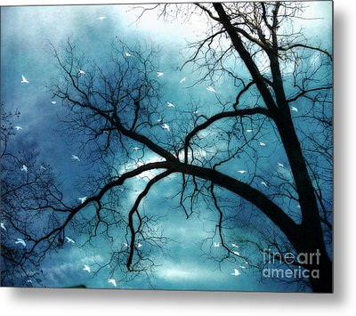 Surreal Fantasy Haunting Gothic Tree With Birds Metal Print by Kathy Fornal
