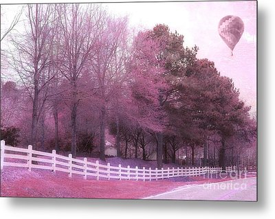 Surreal Fantasy Pink Nature Country Road With Hot Air Balloon Metal Print by Kathy Fornal