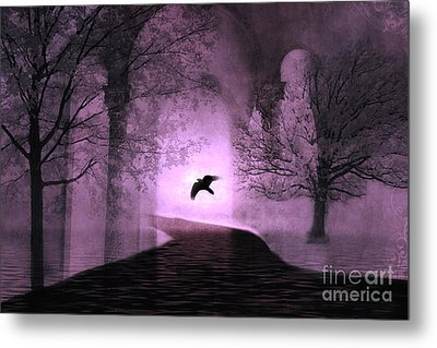 Surreal Fantasy Purple Nature Trees With Raven Flying Into Light Metal Print by Kathy Fornal