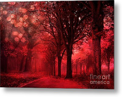 Surreal Fantasy Red Forest Woodlands Nature Metal Print by Kathy Fornal