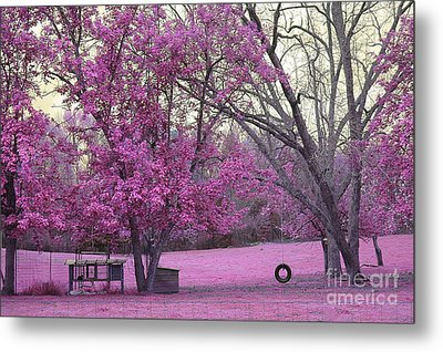 Surreal Fantasy South Carolina Pink Fall Landscape With Swing Metal Print by Kathy Fornal