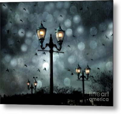 Surreal Fantasy Street Lamps Dreamy Flying Ravens Haunting Night Lights With Bokeh Metal Print by Kathy Fornal