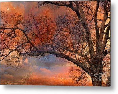 Surreal Fantasy Orange Sunset Trees Ethereal Landscape Metal Print by Kathy Fornal