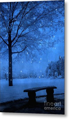 Surreal Fantasy Winter Blue Tree Snow Landscape Metal Print by Kathy Fornal