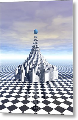 Surreal Fractal Tower Metal Print by Phil Perkins