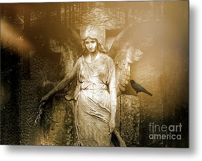 Surreal Gothic Angel Art Photography - Spiritual Ethereal Sepia Angel With Black Raven  Metal Print by Kathy Fornal