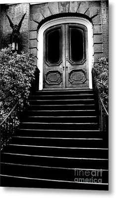 Charleston Surreal Gothic Black And White Staircase And Door With Gargoyle Metal Print by Kathy Fornal