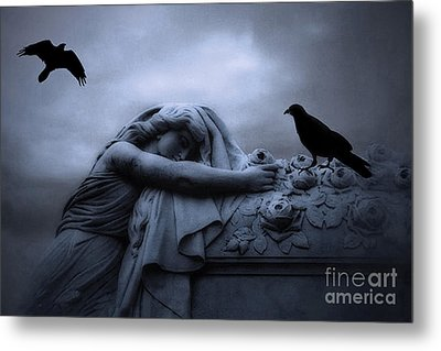 Surreal Gothic Cemetery Female Mourner Draped Over Coffin With Ravens - Surreal Blue Cemetery Art Metal Print by Kathy Fornal