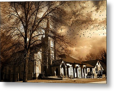 Surreal Gothic Church Fall Autumn Dark Sky And Flying Ravens  Metal Print by Kathy Fornal