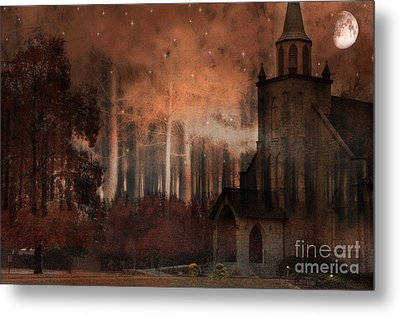 Surreal Gothic Church Autumn Fall Orange Brown With Full Moon And Stars Metal Print