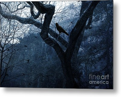 Surreal Gothic Crow Haunting Tree Limbs - Haunting Sapphire Blue Trees  Metal Print by Kathy Fornal