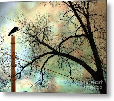 Surreal Gothic Crow Ravens Birds Fantasy Nature  Metal Print by Kathy Fornal
