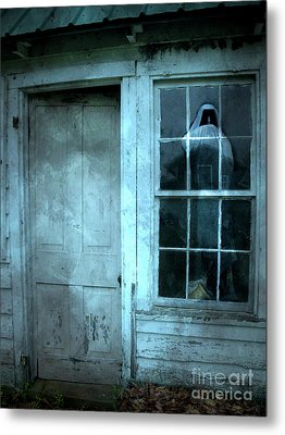 Surreal Gothic Grim Reaper In Window - Spooky Haunted House Reflection In Window Metal Print by Kathy Fornal