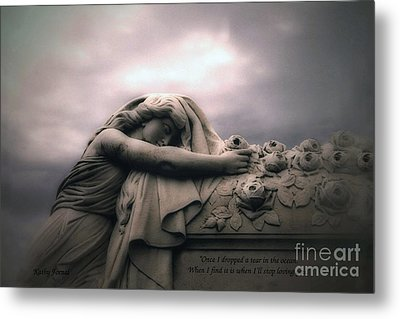 Surreal Gothic Sad Angel Cemetery Mourner - Inspirational Angel Art Metal Print by Kathy Fornal