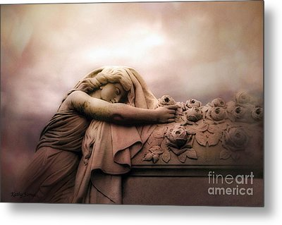 Surreal Gothic Sad Angel Female Cemetery Mourner At Rose Casket Coffin - Haunting Surreal Grave Art Metal Print by Kathy Fornal