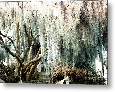 Surreal Gothic Savannah House Spanish Moss Hanging Trees - Savannah Mint Green Moss Trees Metal Print by Kathy Fornal