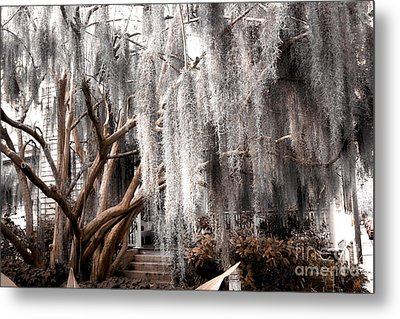 Surreal Gothic Savannah House Spanish Moss Hanging Trees - Savannah Sepia Brown Moss Trees Metal Print by Kathy Fornal