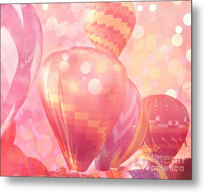 Surreal Hot Pink Orange And Yellow Hot Air Balloons - Hot Air Balloons Festival Fantasy Art Prints Metal Print
