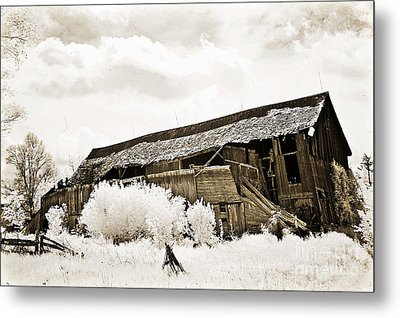 Surreal Infrared Sepia Old Crumbling Barn Landscape - The Passage Of Time Metal Print by Kathy Fornal