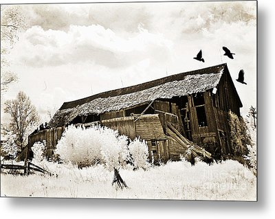 Surreal Infrared Sepia Vintage Crumbling Barn With Flying Ravens - The Passage Of Time Metal Print by Kathy Fornal