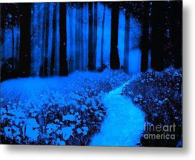 Surreal Moonlight Blue Haunting Dark Fantasy Nature Path Woodlands Metal Print by Kathy Fornal