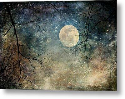 Surreal Night Sky Moon And Stars Metal Print