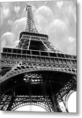 Surreal Paris Black And White Eiffel Tower With Balloons - Black And White Paris Fine Art Metal Print by Kathy Fornal