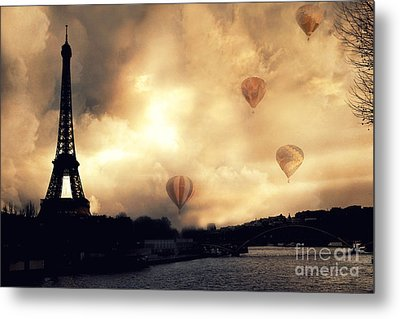 Surreal Paris Eiffel Tower Storm Clouds Sunset Sepia And Hot Air Balloons Metal Print
