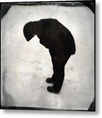 Surreal Silhouette Of A Person In The Snow Metal Print