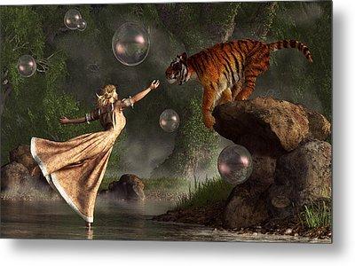 Surreal Tiger Bubble Waterdancer Dream Metal Print by Daniel Eskridge