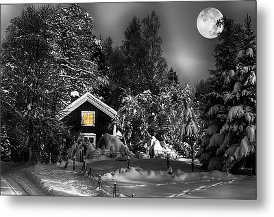 Surreal Winter Landscape With Moonlight Metal Print by Christian Lagereek