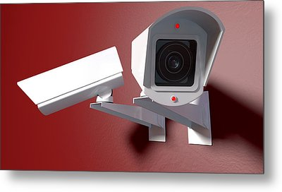 Surveillance Cameras On Red Metal Print