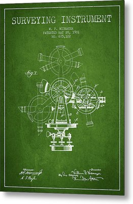 Surveying Instrument Patent From 1901 - Green Metal Print