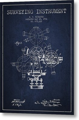 Surveying Instrument Patent From 1901 - Navy Blue Metal Print