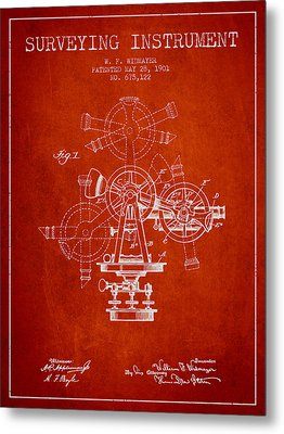 Surveying Instrument Patent From 1901 - Red Metal Print