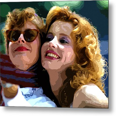Susan Sarandon And Geena Davies Alias Thelma And Louis - Watercolor Metal Print