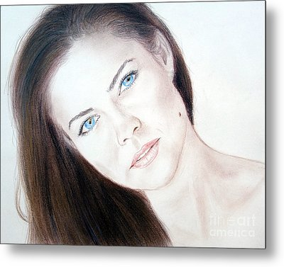 Actress And Model Susan Ward Blue Eyed Beauty With A Mole Metal Print