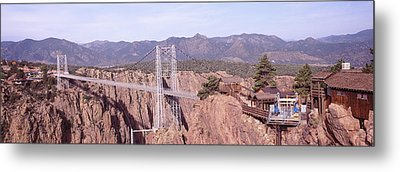 Suspension Bridge Across A Canyon Metal Print