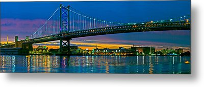 Suspension Bridge Across A River, Ben Metal Print