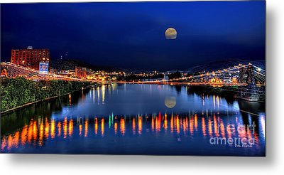 Suspension Bridge Wheeling Wv Panoramic Metal Print by Dan Friend