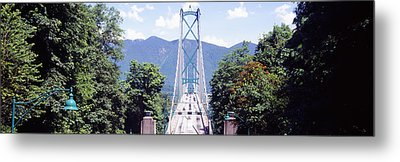 Suspension Bridge With Mountain Metal Print by Panoramic Images