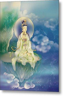 Sutra-holding Kuan Yin Metal Print by Lanjee Chee