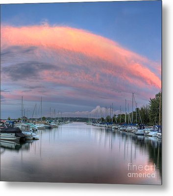 Sutton's Bay Marina At Sunset Metal Print by Twenty Two North Photography